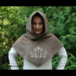 "Woolen hood with embroidery ""Tree of Life"""