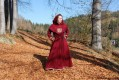 Set - Dark red woolen dress decorated with embroidery, silk, tablet braid and hood for a Viking lady