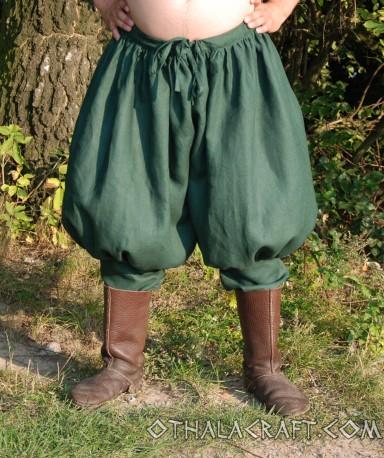 Rus Viking trousers from linen - dark green - OthalaCraft