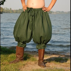 Short Rus Viking trousers from linen - dark green