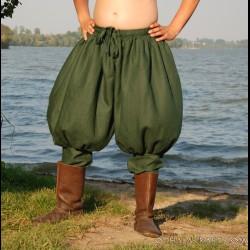 Short Rus Viking trousers from linen - dark green
