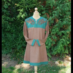 Diamond twill tunic with embroidery