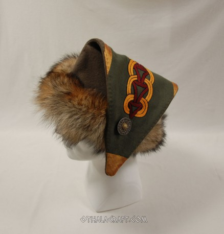 Triangle hat for Viking with embroidery and silk