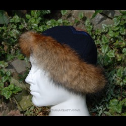 Hat with brocade silk and fur