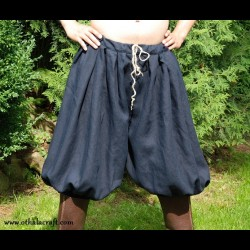 Short Rus Viking trousers from dark blue linen - XL size